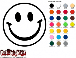 Smiley Bügelbild Flex Folie Hotfix Smilie lächeln Emoji Emoticon Aufbügler