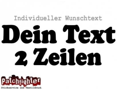 Text Bügelbild 2 Zeilen 20cm breit Wunschtext Flex Folie zum Aufbügeln