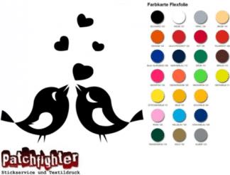 Vogel Herz Bügelbild Bügelmotiv Bird Flex Folie Hotfix zum aufbügeln