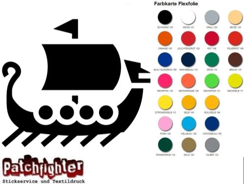 Wikingerschiff Bügelbild Bügelmotiv Walhalla Flexfolie Hotfix Aufbügler