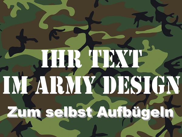 Bügelbild Wunschtext Army Design Armee Schriftart Bügeltext Flexfolie