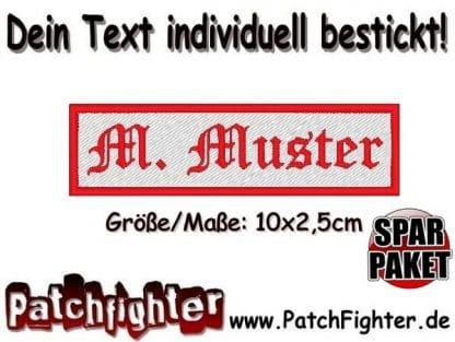 Sparpaket Dein TEXT Namensschild Aufnäher 5er Pack 10x2,5cm bestickt