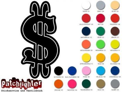 Dollar Zeichen Bügelbild Flexfolie Aufbügler Bügelmotiv Hotfix Money Cash