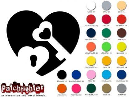 Herz mit Schlüssel Bügelbild Flexfolie Aufbügler Bügelmotiv Herz Liebe Hotfix