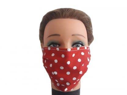 Mundschutz rot mit Punkten Atemschutzmaske Baumwolle Maske wiederverwendbar
