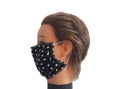 Mundschutz schwarz mit Punkten Baumwolle Schutzmaske wiederverwendbar