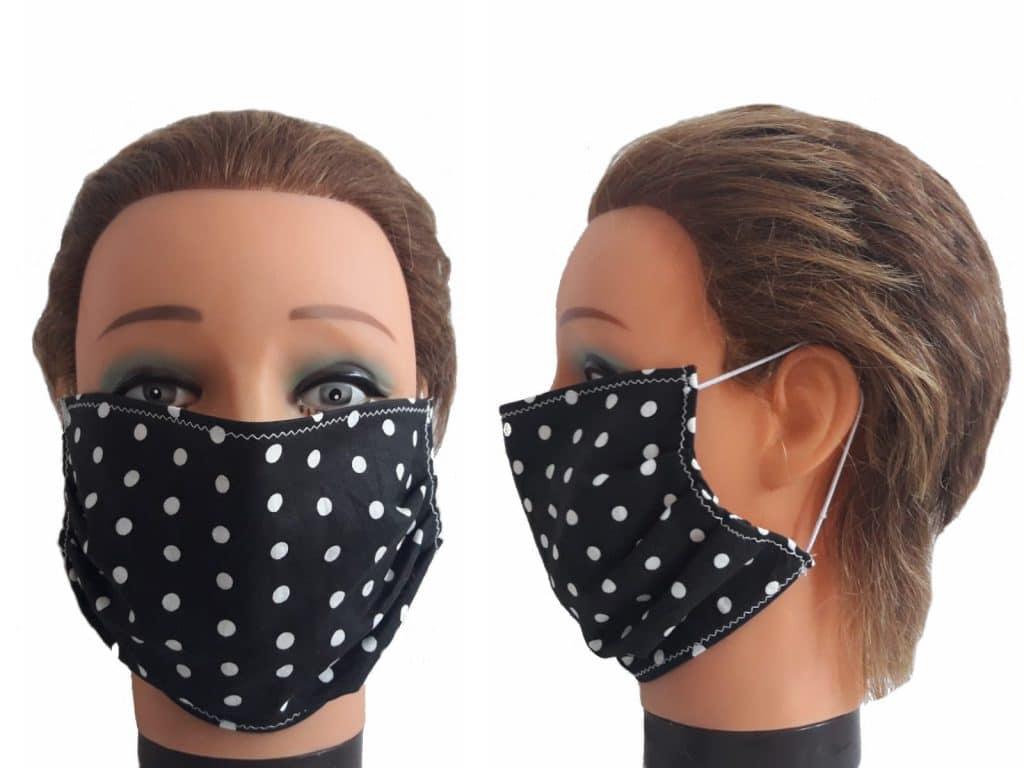 Gesichtsmaske schwarz mit Punkten Baumwolle Maske wiederverwendbar
