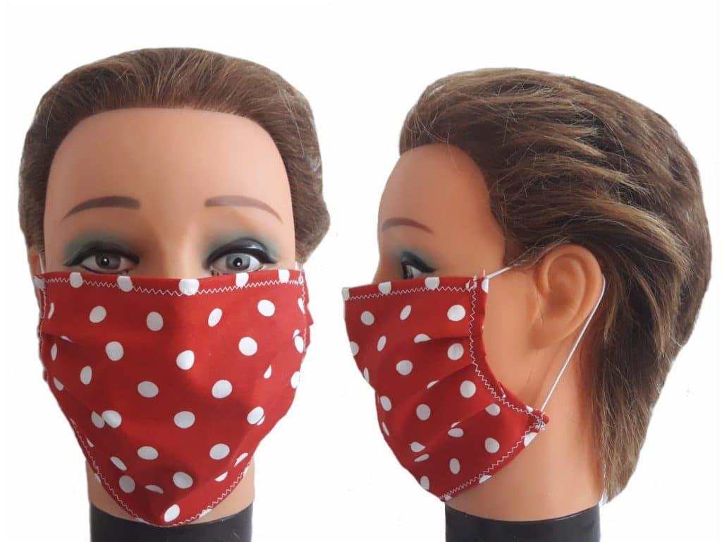 Gesichtsmaske Rot mit Punkten Baumwolle Mundmaske wiederverwendbar