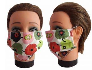 Gesichtsmaske Apfelmotiv Frauen Mundmaske Baumwolle Maske wiederverwendbar