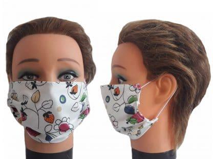 Gesichtsmaske Blumen Erdbeeren Mundmaske Baumwolle Maske wiederverwendbar